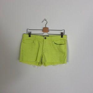 Green Neon Jean Shorts